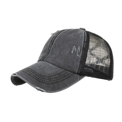 DISTRESSED PONYTAIL MESH CAPS