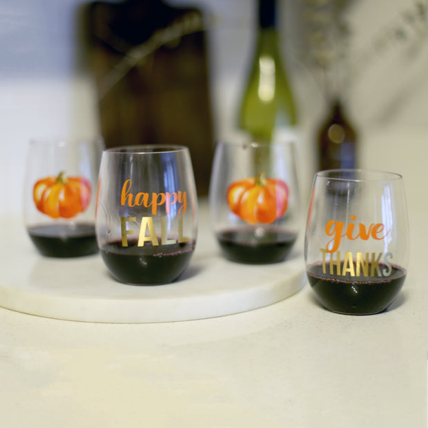 GIVE THANKS TO GO WINE GLASS SET