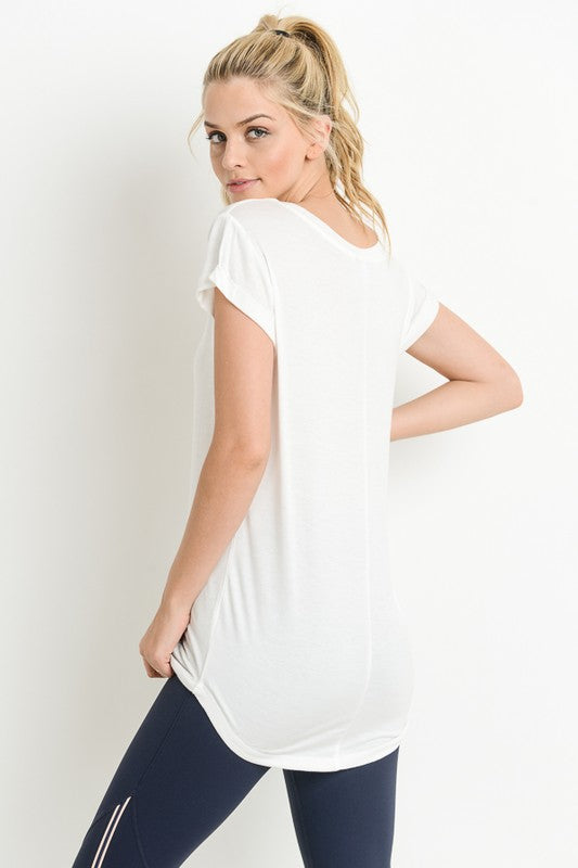 ALL MY EFFORT CAP SLEEVE TEE - WHITE & TAUPE