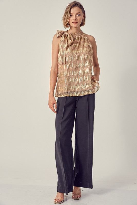 GOLDEN HOUR SHINY PLEATED TOP