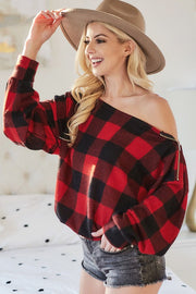 WINTER CLASSIC PLAID ZIPPER TOP