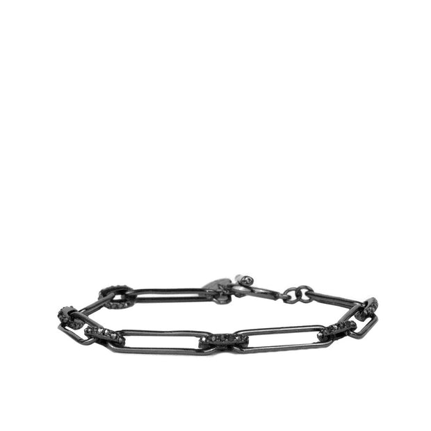 NEW DIRECTION CHAIN PAVE BRACELET - SILVER & HEMATITE