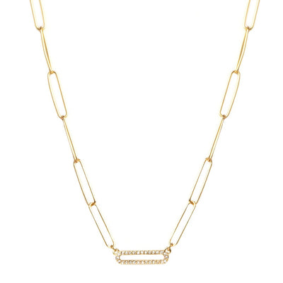 PERFECTLY PAVE LINK NECKLACE - GOLD, SILVER, OR HEMATITE