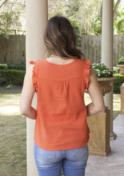 WRAPPED IN YOU CORAL TOP