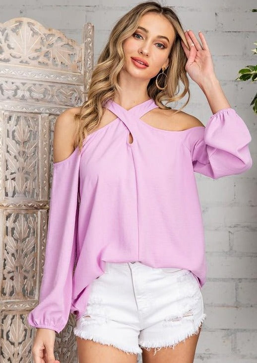AFTERFLOW CRISS CROSS COLD SHOULDER TOP - LILAC OR ORANGE