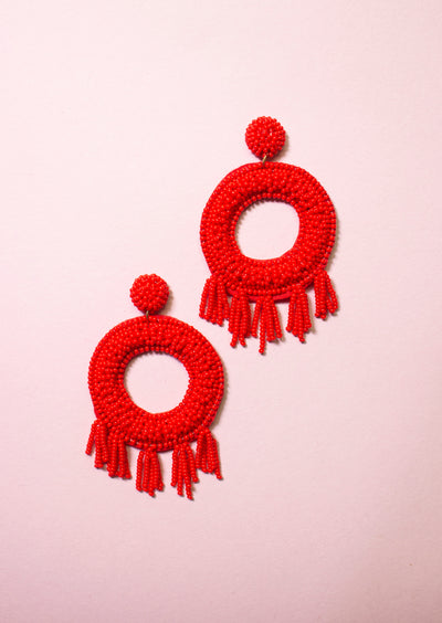 ROUND AND ROUND TASSEL EARRINGS - RED