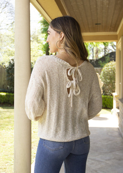 TIE TO TELL OATMEAL TIE BACK SWEATER