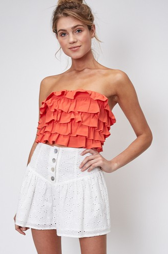 ORANGE YOU COOL RUFFLE CROP TOP