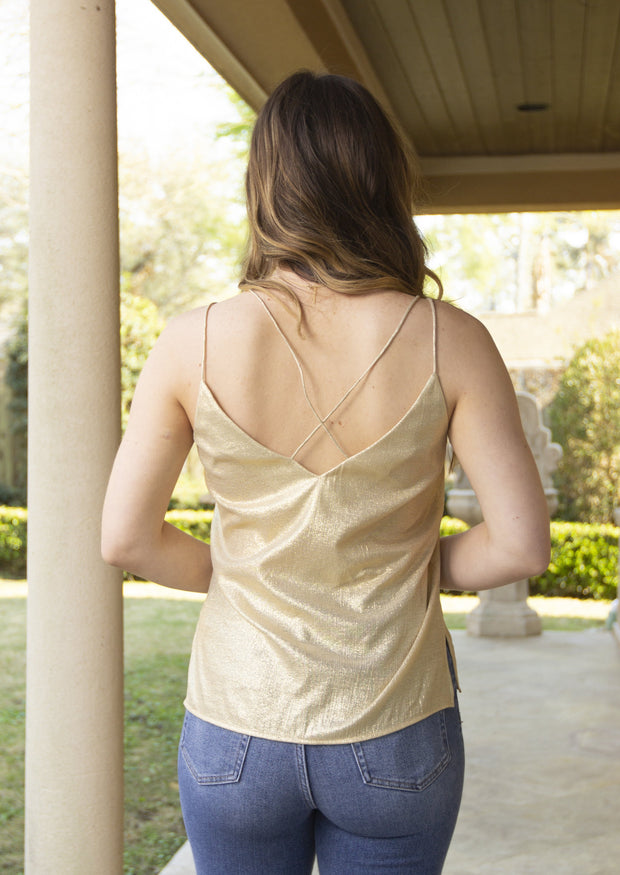 BRAG ABOUT IT GOLD CAMI TOP