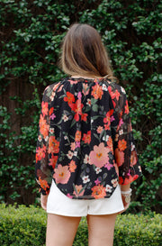 READY TO BLOOM NAVY FLORAL BLOUSE