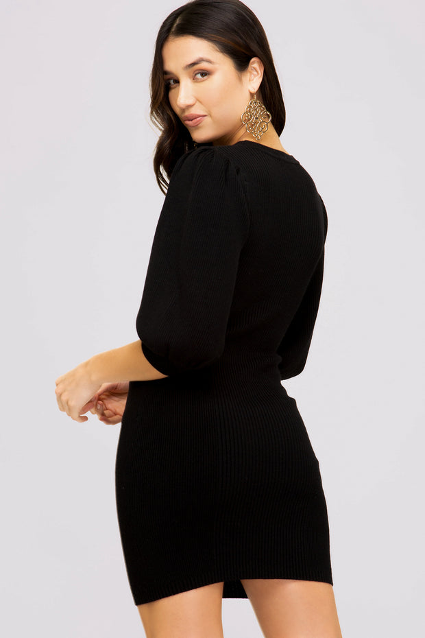 ALLIE KNIT DRESS - BLACK