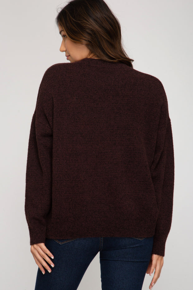 BOYFRIEND SWEATER - PLUM