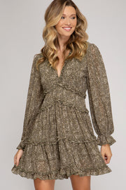RAISE A GLASS OLIVE GREEN TIERED DRESS