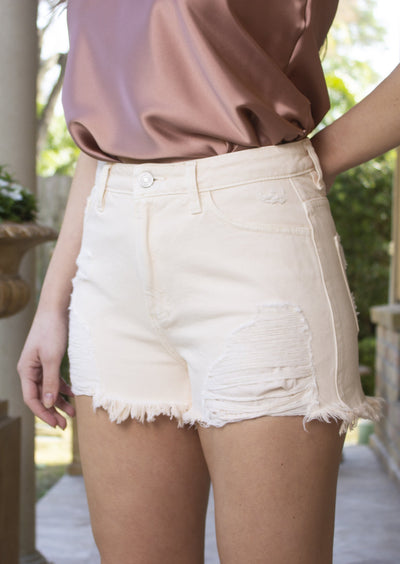 BLUSH DISTRESSED FRAYED SHORTS