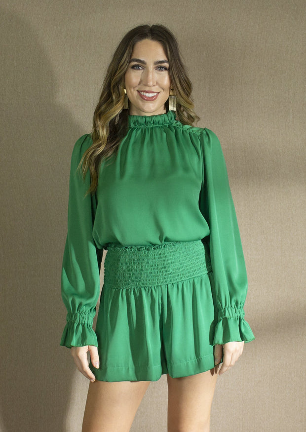 GREEN WITH ENVY SMOCKED SHORTS