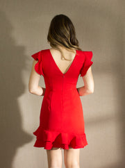RED HOT RUFFLE DRESS