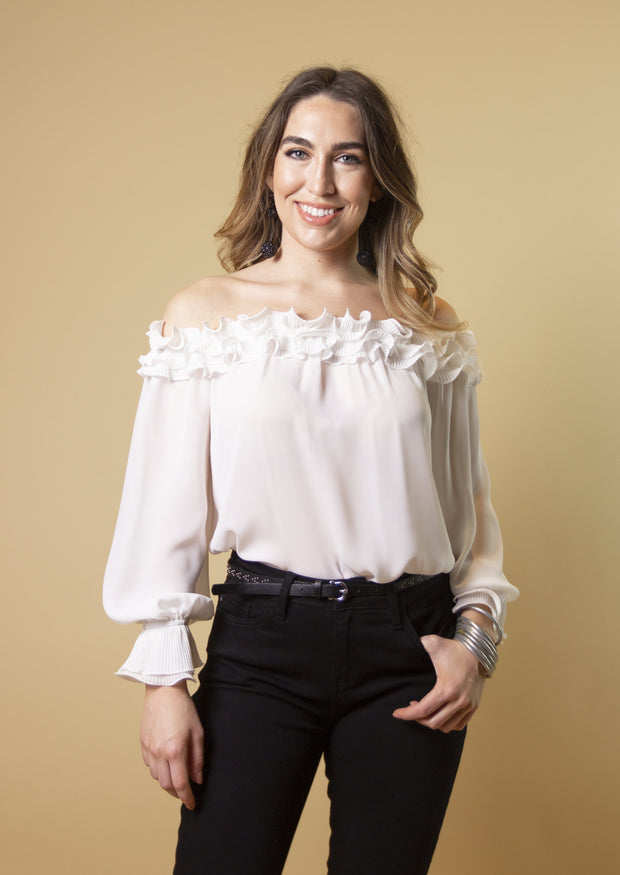 LE FEMME RUFFLED OFF SHOULDER BLOUSE