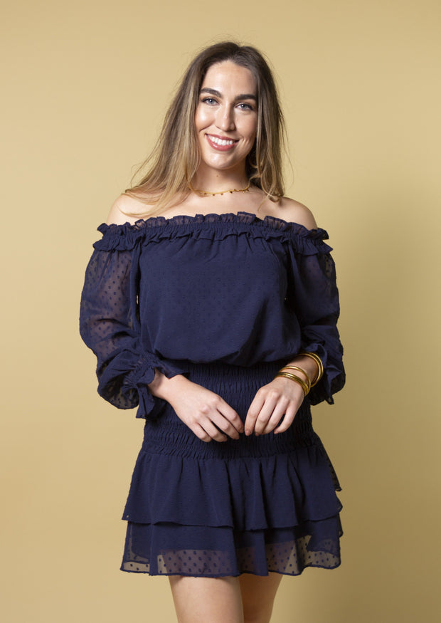 SWISS MISS OFF THE SHOULDER DRESS