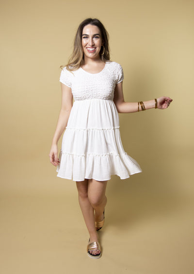 YOUR SUNNY DAY WHITE SMOCKED DRESS