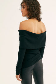 FREE PEOPLE:  SNOWBUNNY BLACK OFF THE SHOULDER TOP