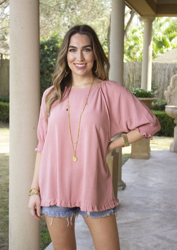 SWEET NECESSITIES FRAYED BLOUSE