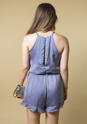DUST OFF THE BLUES SATIN ROMPER