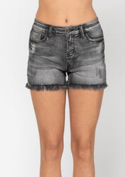 JUDY BLUE:  HIGH WAIST BLACK FRAYED SHORTS