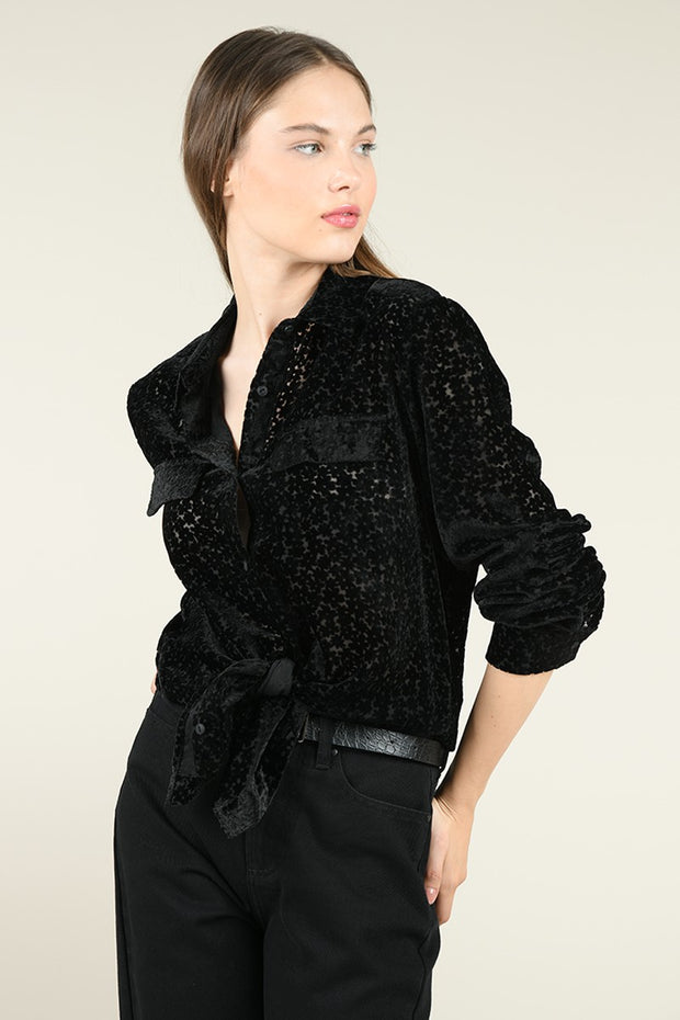MOLLY BLACK VELVET SEMI SHEER TOP