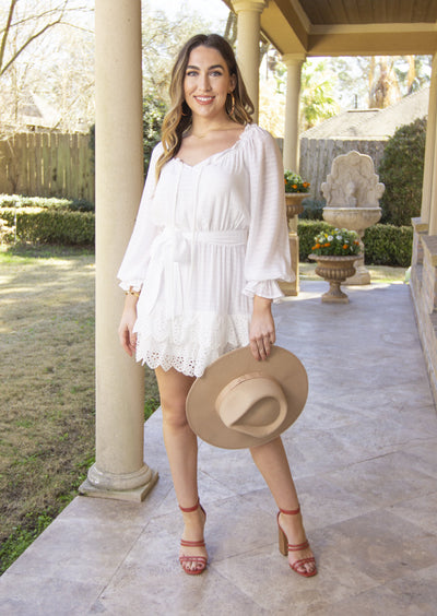 WHEN SPRING ARRIVES EYELET DRESS