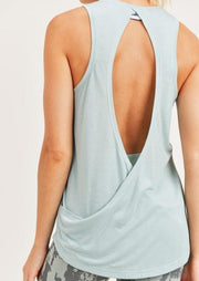 SIMPLY STATED OPEN BACK TANK - SEAFOAM