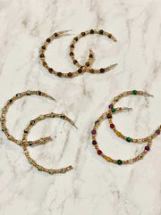 TARAH BEADED HOOP EARRINGS