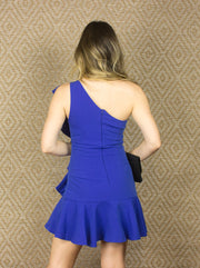 TWIST OF FATE ONE SHOULDER DRESS - BLUE