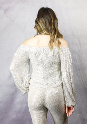 SILVER BELLE SEQUIN TOP - CHAMPAGNE