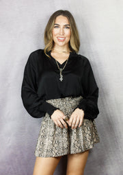 EVENING PLANS SMOCKED BLOUSE - BLACK & TAUPE