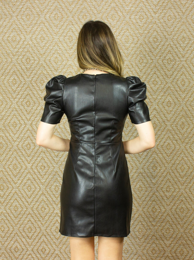 ADD SOME FLAIR FAUX LEATHER DRESS
