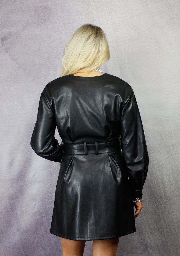 HEARTACHE IN HEELS BLACK LEATHER DRESS