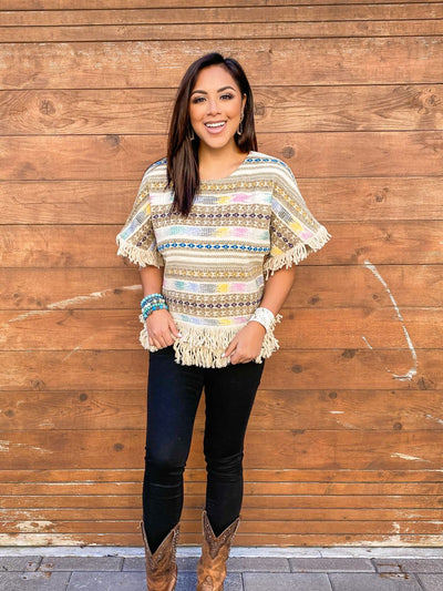 IVY JANE AZTEC PRINT TOP