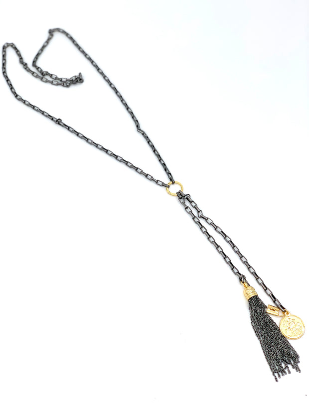 OH SO TRACIE: BARI NECKLACE - GUN METAL