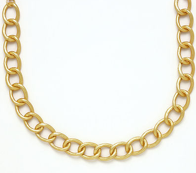 BRUSHED GOLD OVAL LINK NECKLACE