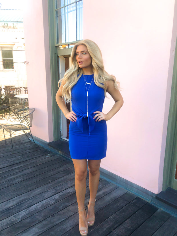 ROYALLY BLUE FRONT TIE DRESS