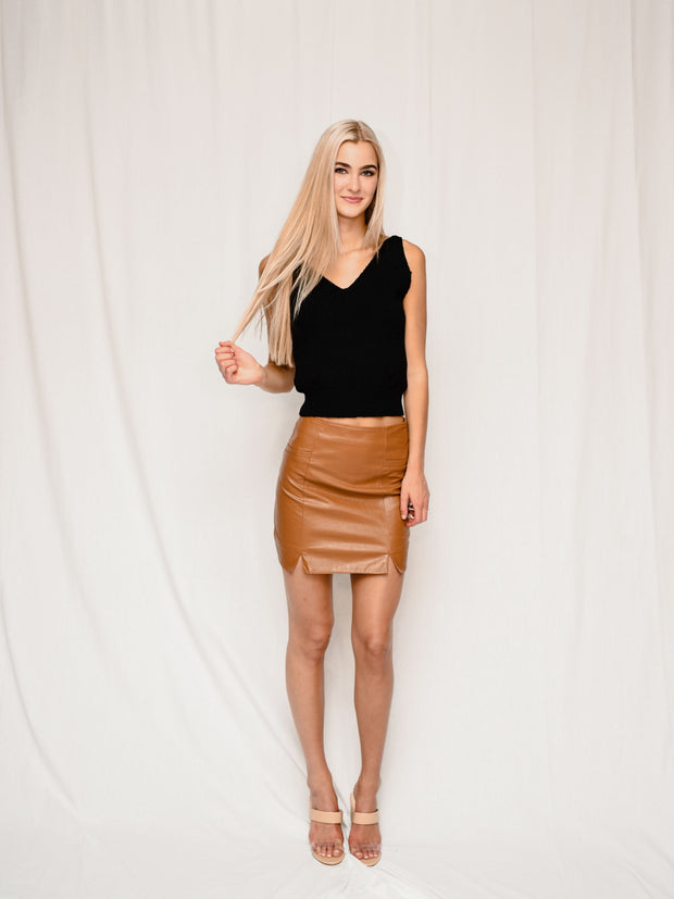 CAMILLA CARAMEL FAUX LEATHER SKIRT