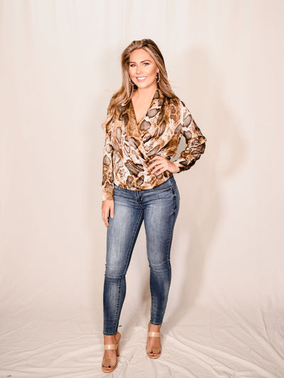 EYES OFF YOU PYTHON BLOUSE