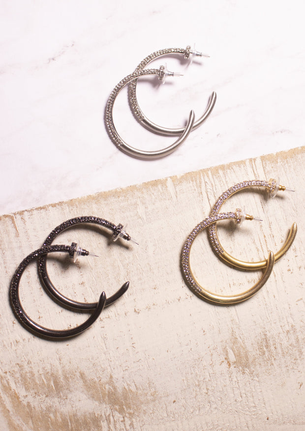 ALL THAT SPARKLES & SHINES HOOP EARRINGS - GOLD, SILVER,