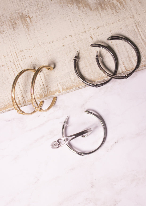 ALTER EGO HOOP EARRINGS - GOLD, SILVER & GUN METAL