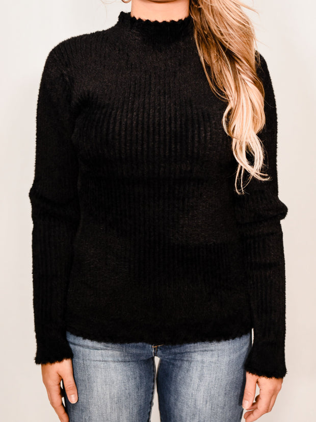 WORTH THE FUZZ MOCK NECK SWEATER - BLACK