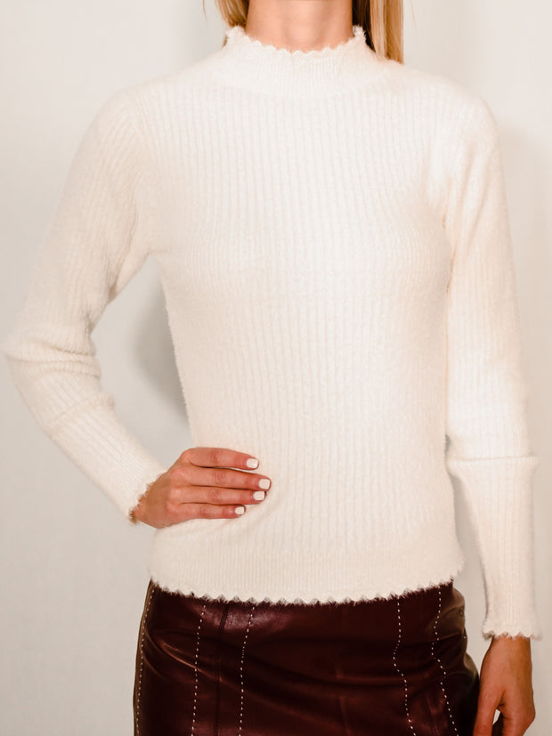 WORTH THE FUZZ MOCK NECK SWEATER - WHITE