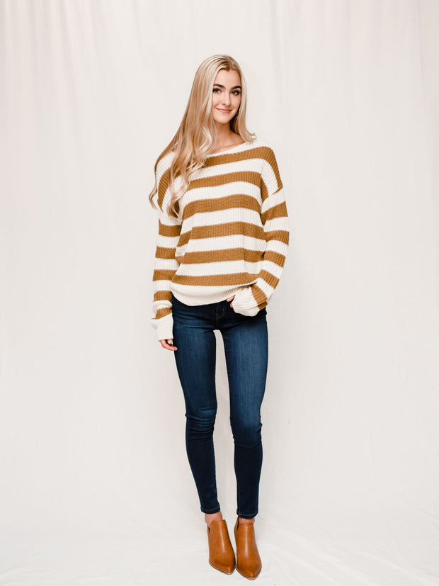 THE HANNAH STRIPED MUSTARD SWEATER