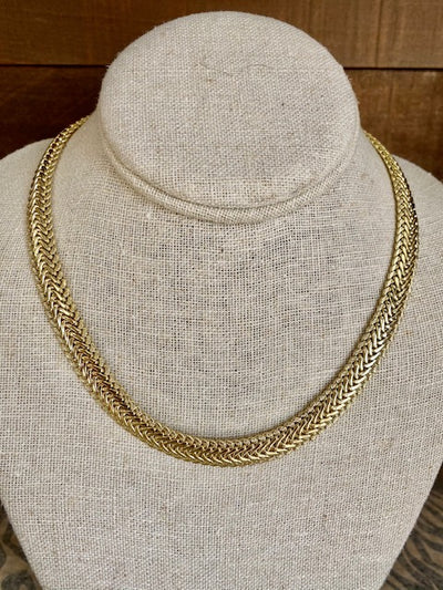 BB LILA:  GOLDEN HOUR HERRINGBONE NECKLACE - GOLD OR SILVER