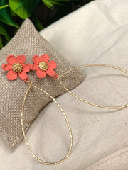 FLOWER POWER EARRINGS - CORAL