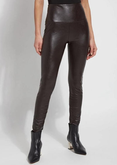 LYSSE':  TEXTURED DOUBLE ESPRESSO LEATHER LEGGINGS
